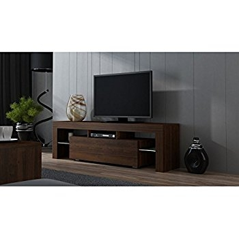 Remarkable Well Known Modern Low Profile TV Stands With Regard To Amazon Tv Stand Milano 200 Black Body Modern Led Tv Cabinet (View 49 of 50)