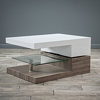 Remarkable Well Known Swivel Coffee Tables For Amazon Haring Square Rotating Wood Coffee Table Kitchen Dining (View 46 of 50)