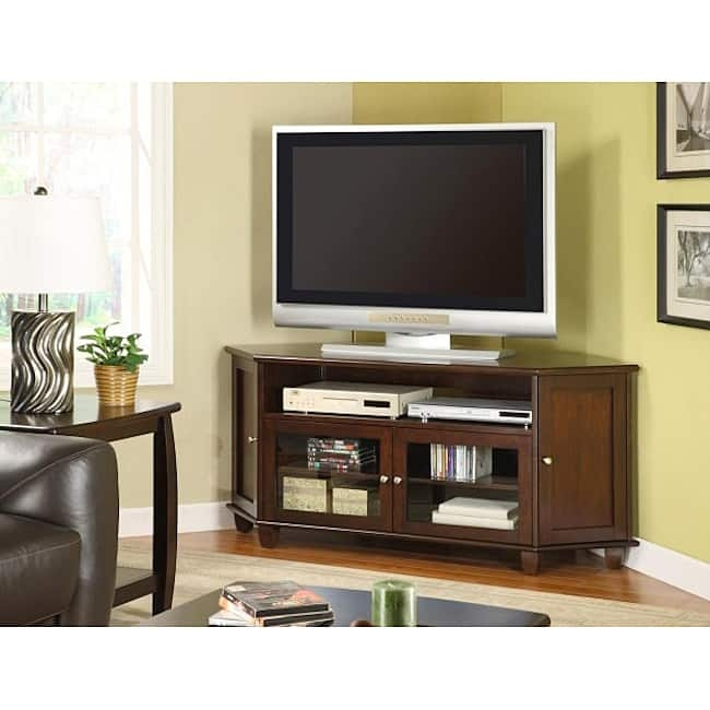 Remarkable Well Known Walnut TV Stands For Flat Screens With Regard To Dark Walnut Veneer 60 Inch Corner Tv Stand Free Shipping Today (Image 39 of 50)