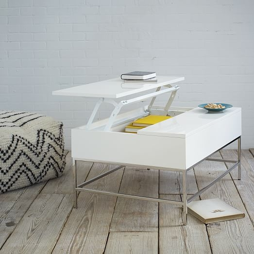 Remarkable Well Known White Coffee Tables With Storage With Regard To Lacquer Storage Coffee Table West Elm (View 24 of 50)