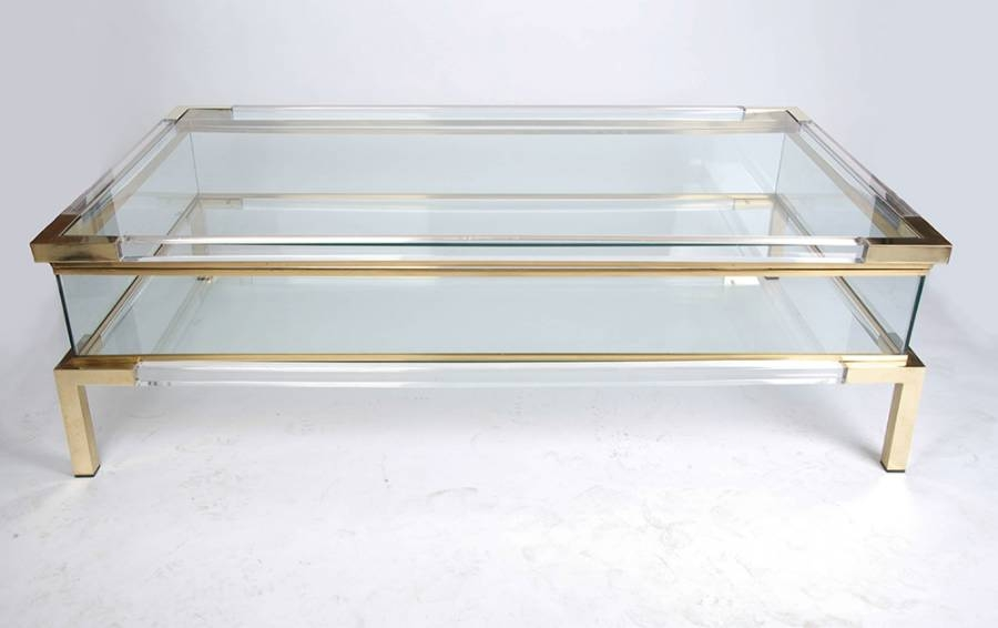 Remarkable Wellliked All Glass Coffee Tables Regarding Lucite Brass And Glass Coffee Table With Sliding Top France C (Image 40 of 50)