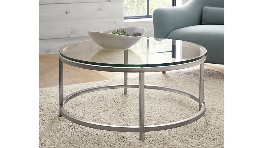 Remarkable Wellliked Circular Coffee Tables Intended For Era Round Glass Coffee Table Crate And Barrel (View 10 of 40)