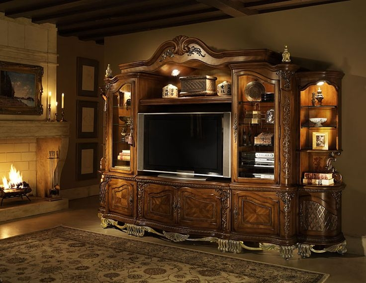 Furniture: Have A Modern Fancy Living Room With Wall Unit ...