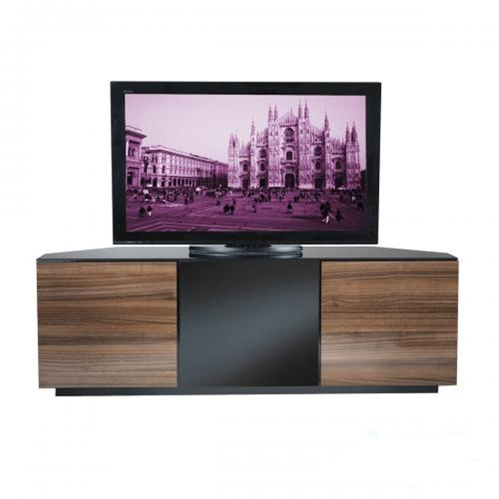 Remarkable Wellliked Contemporary Corner TV Stands Throughout Bdi Cavo 8167 Natural Walnut Tv Stand Bdi Signal 8329 Natural (View 16 of 50)