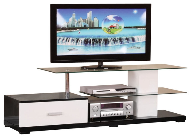 Remarkable Wellliked Modern Glass TV Stands Intended For Modern White Black Glass Top 3 Tier Tv Stand With One Bottom (Image 41 of 50)