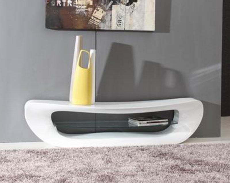 Remarkable Wellliked Modern White Lacquer TV Stands Regarding Modrest Crest Contemporary White Tv Stand (Image 40 of 50)