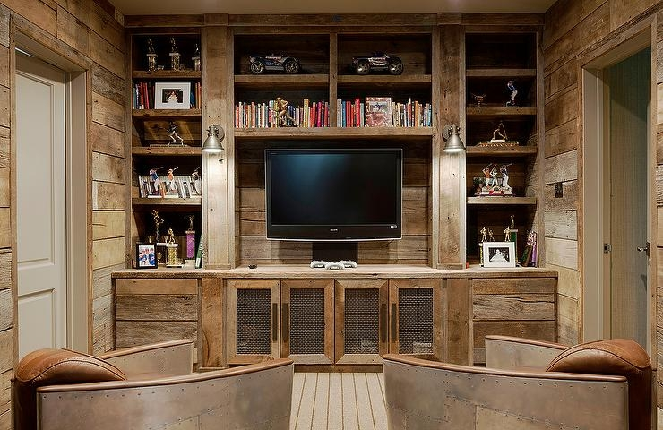 Remarkable Wellliked Rustic TV Cabinets With Regard To Rustic Tv Room With Aviator Chairs Country Living Room (Image 42 of 50)
