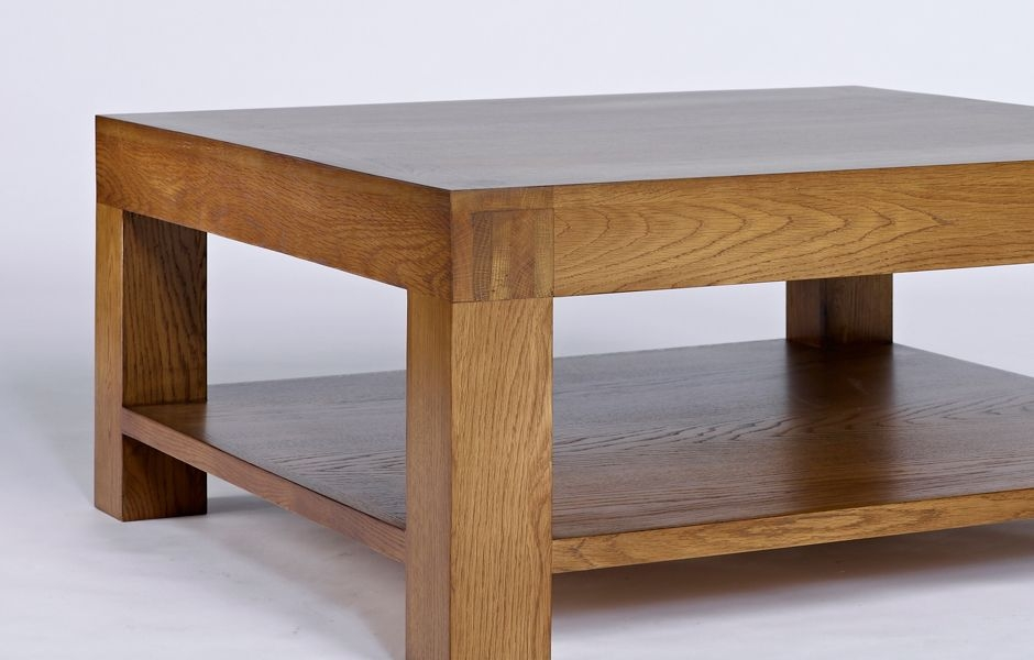 Remarkable Wellliked Square Oak Coffee Tables In Oak Coffee Table With Shelf Santana (View 21 of 50)