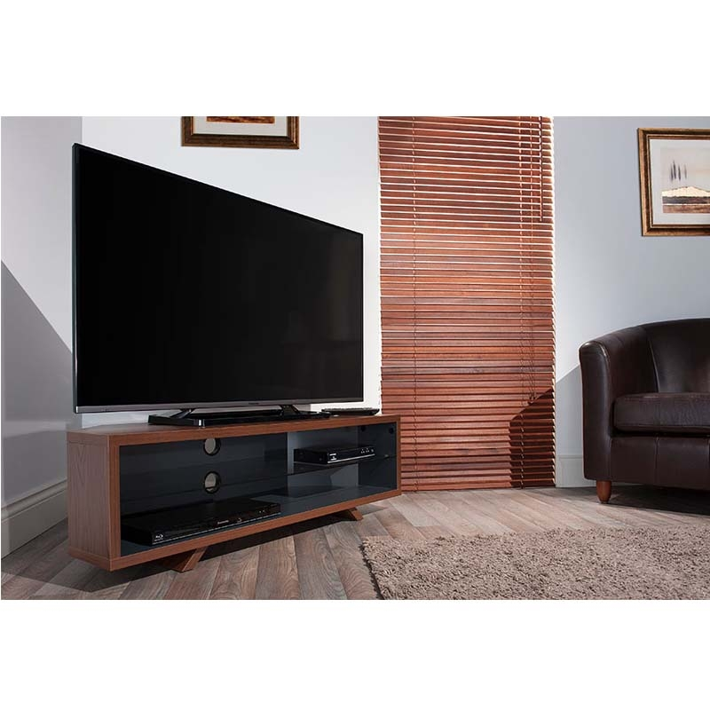 Remarkable Widely Used Dual TV Stands With Regard To Techlink Dual Corner Series 55 In Tv Stand Walnut And Satin Grey (Image 44 of 50)