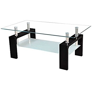 Remarkable Widely Used Elise Coffee Tables Inside Vida Designs Elise Coffee Table Glass Black Amazoncouk (View 13 of 40)