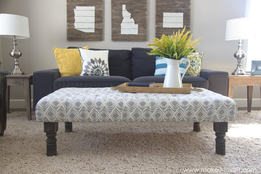 Remarkable Widely Used Fabric Coffee Tables Within Diy Tufted Fabric Ottoman From An Old Table Make It And (View 13 of 50)