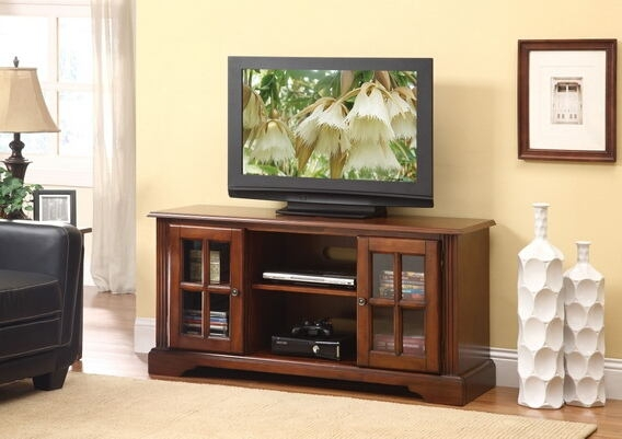 Remarkable Widely Used Glass Front TV Stands For Acme Acm91048 Basma Cherry (Image 42 of 50)