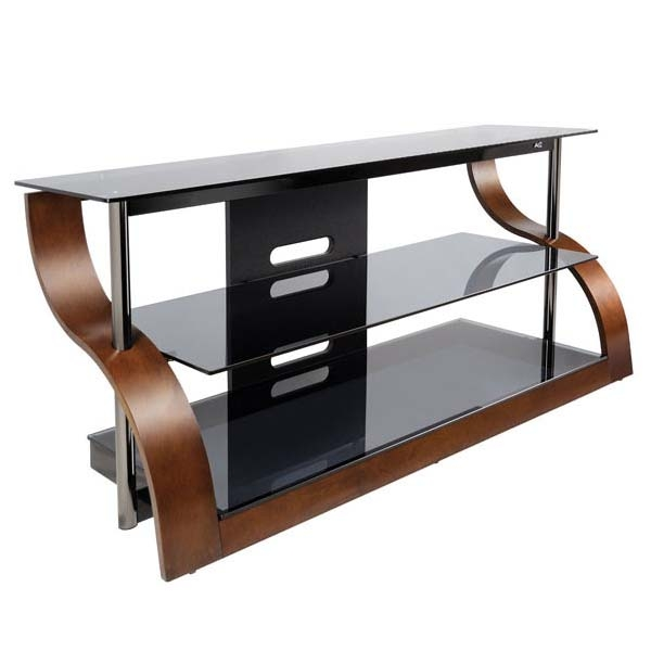 Remarkable Widely Used Glass TV Stands Throughout Bello Curved Wood And Black Glass Tv Stand For 32 55 Inch Screens (View 13 of 50)