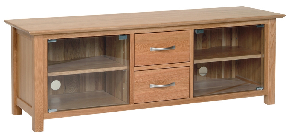 Remarkable Widely Used Long Oak TV Stands Throughout Oak Tv Stand With Glass Doors Un Varnish Teak Wood Media Cabinet (Image 42 of 50)
