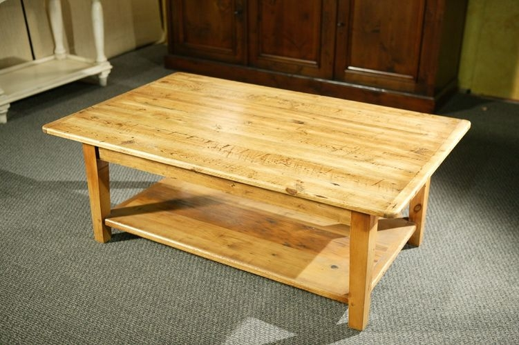 Remarkable Widely Used Old Pine Coffee Tables Within Custom Wood Coffee Tables With Shelf And Straight Legs (Image 40 of 50)