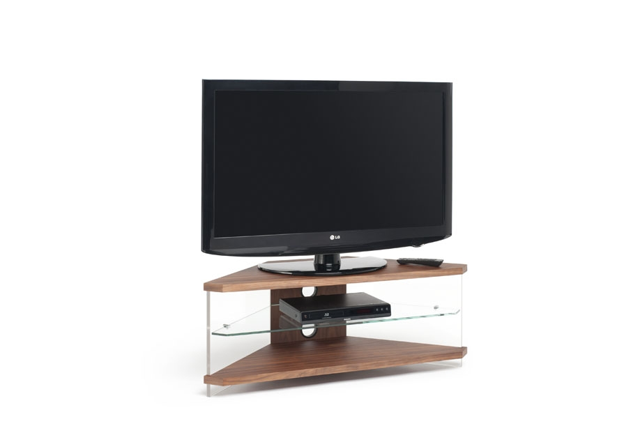 Remarkable Widely Used Techlink Corner TV Stands For Techlink Air Corner Tv Stand In Walnut With Clear Glass (View 38 of 50)