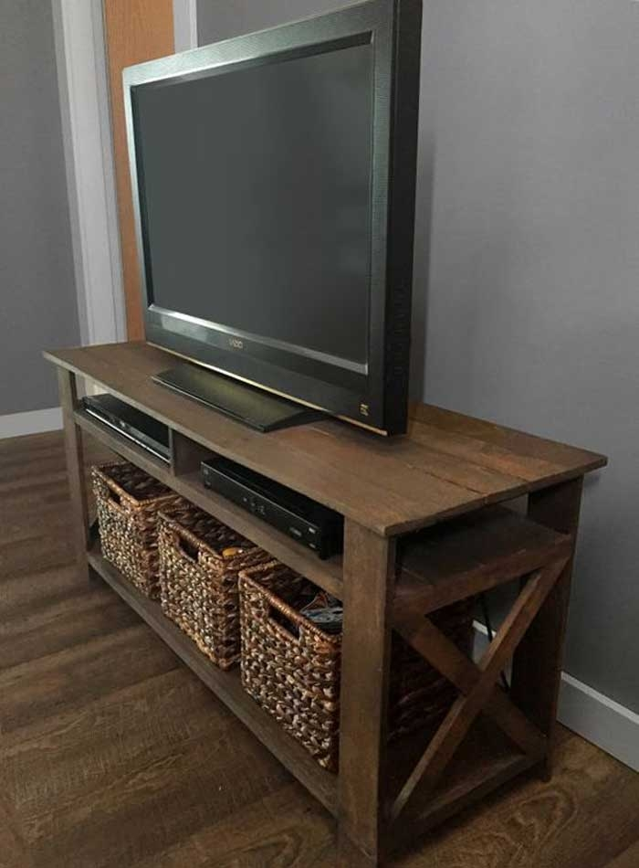 Remarkable Widely Used TV Stands With Storage Baskets Pertaining To 50 Creative Diy Tv Stand Ideas For Your Room Interior Diy (View 11 of 50)
