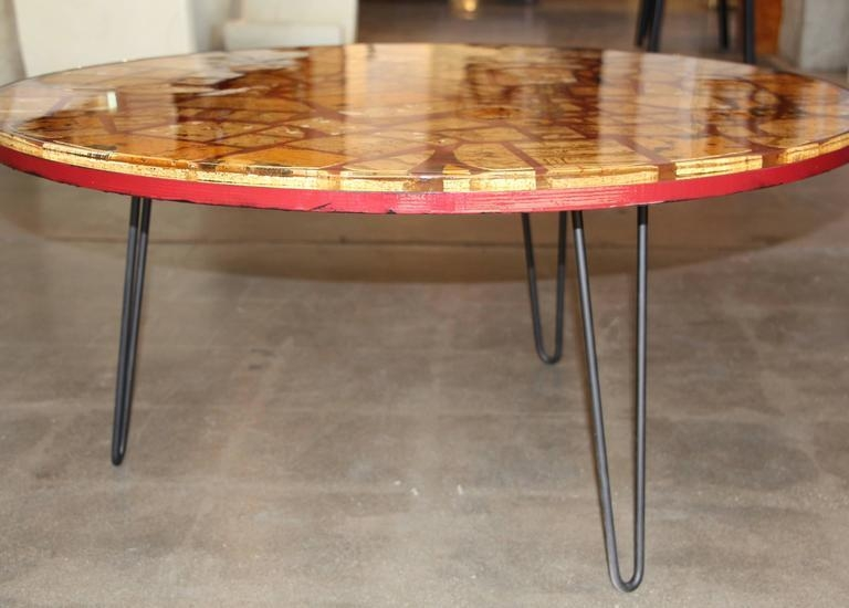 Resin Epoxy Table With Pretty Cork Pieces On Hairpin Legs For Sale With Regard To Cork Dining Tables (Image 17 of 20)