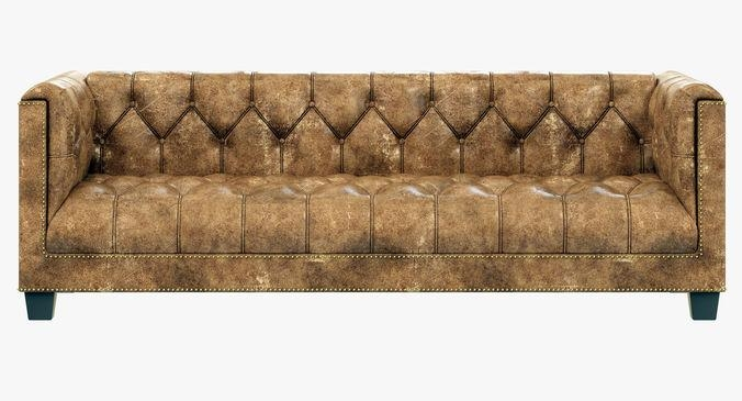 Restoration Hardware Savoy Leather Sofa 3D Model In Savoy Leather Sofas (View 12 of 20)
