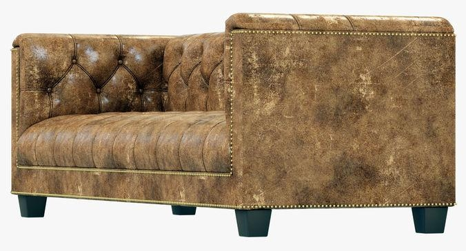Restoration Hardware Savoy Leather Sofa 3D Model Intended For Savoy Leather Sofas (View 18 of 20)