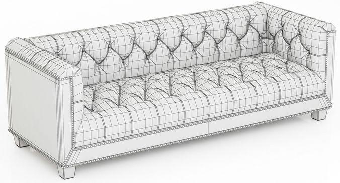 Restoration Hardware Savoy Leather Sofa 3D Model With Regard To Savoy Leather Sofas (View 7 of 20)