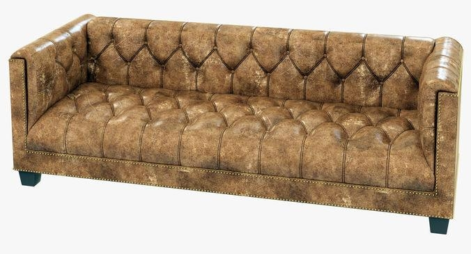 Restoration Hardware Savoy Leather Sofa 3D Model Within Savoy Leather Sofas (View 13 of 20)