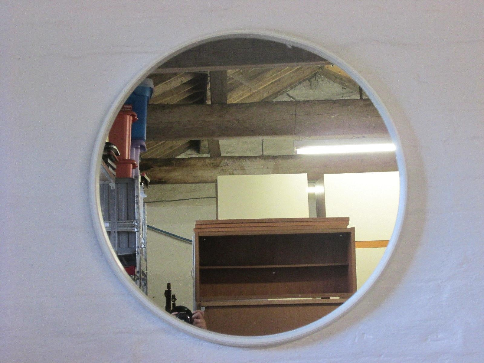 Retro 1960S/1970S Schreiber Nova Round White Framed Wall Mirror Intended For Retro Wall Mirrors (Image 14 of 20)