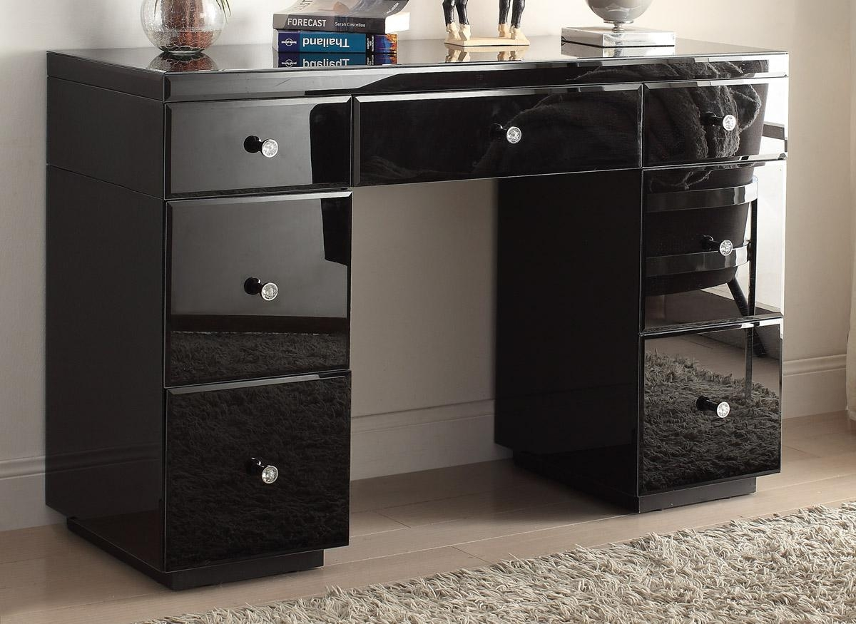 Rio Crystal Black Glass Mirrored Dressing Table Mirror Furniture Inside Black Dressing Mirror (Image 20 of 20)