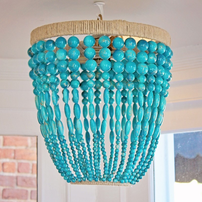Ro Sham Beaux Malibu Turquoise Beaded Chandelier Ro Sham Beaux Inside Turquoise Beaded Chandelier Light Fixtures (Image 21 of 25)