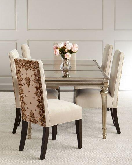 Roberta Antiqued Mirrored Dining Table For Antique Mirror Dining Tables (Image 18 of 20)