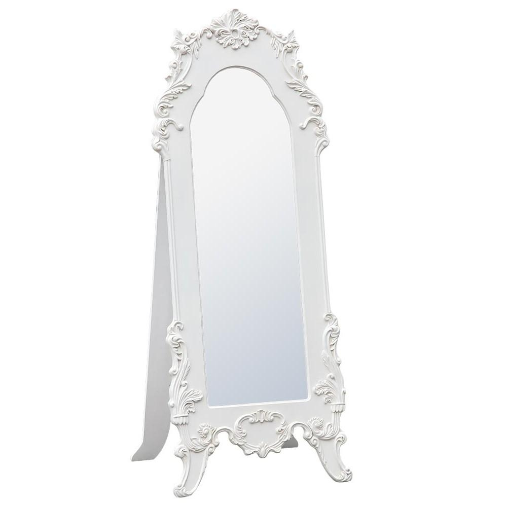 Rococo Provence Antique White Tall Full Length Freestanding In White Rococo Mirror (Image 16 of 20)