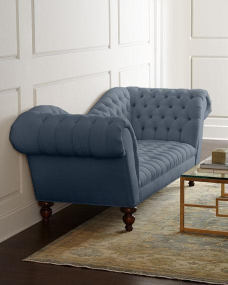 Roll Arm Gray Blue Tufted Sofa In Blue Gray Sofas (Image 19 of 20)