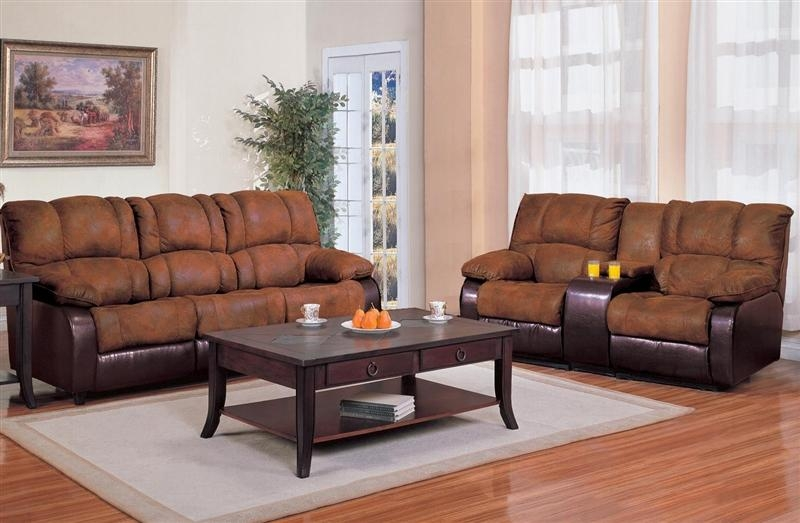 Ronan 2 Piece Reclining Sofa Loveseat Set In Two Tone Cover Throughout Reclining Sofas And Loveseats Sets (Image 18 of 20)