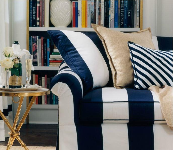 Roomations: August 2012 Pertaining To Blue And White Striped Sofas (Image 16 of 20)
