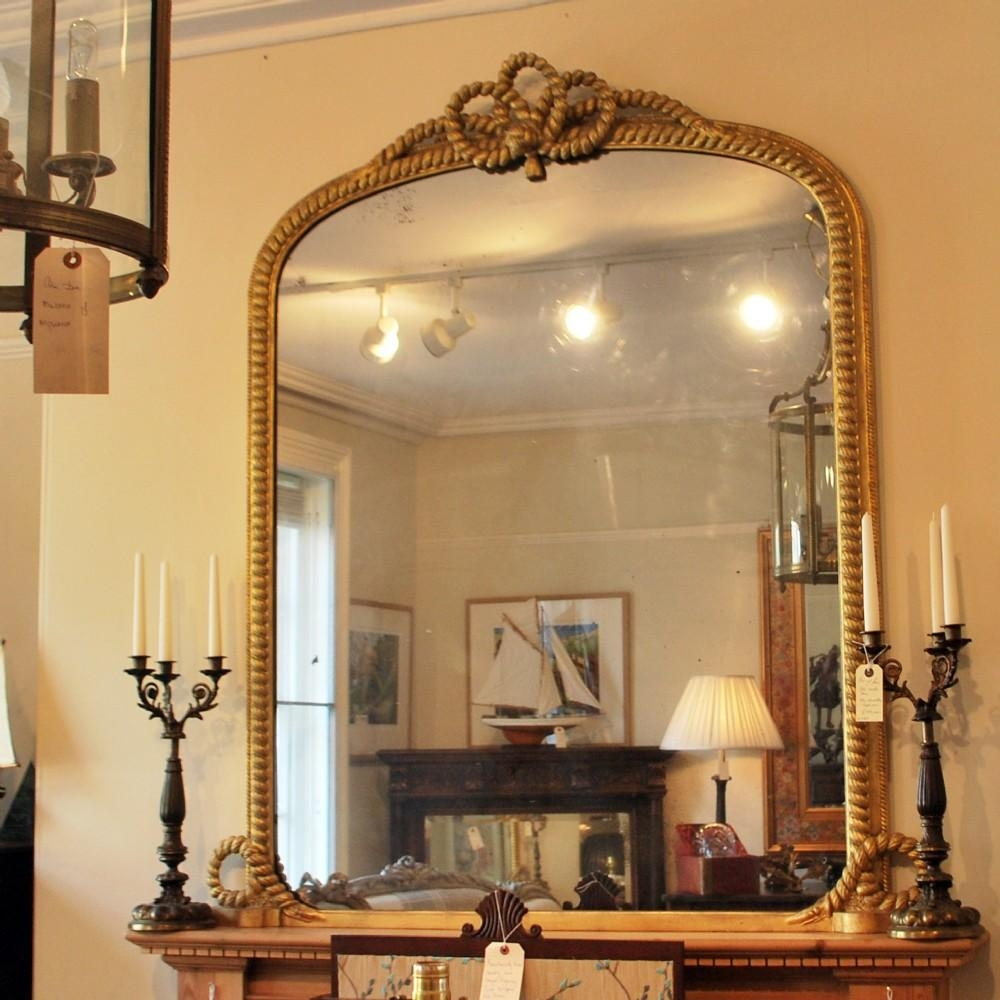 """Rope Twist"""" Gilt Over Mantle Mirror 