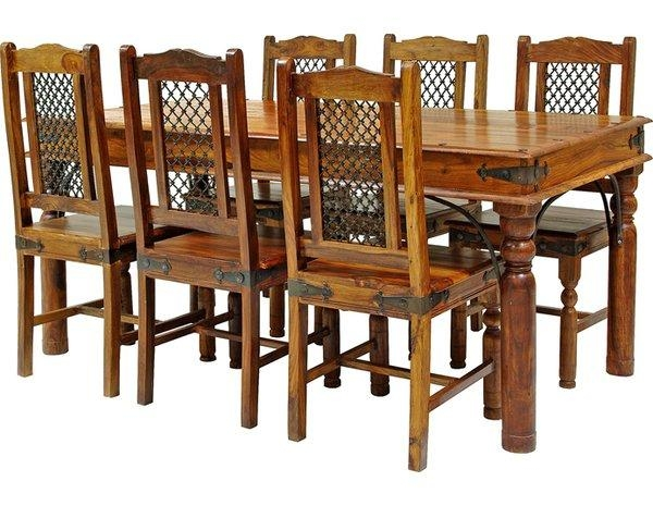 Rosalind Wheeler Ganga Sheesham Dining Set With 6 Chairs & Reviews In Sheesham Dining Tables (Image 13 of 20)