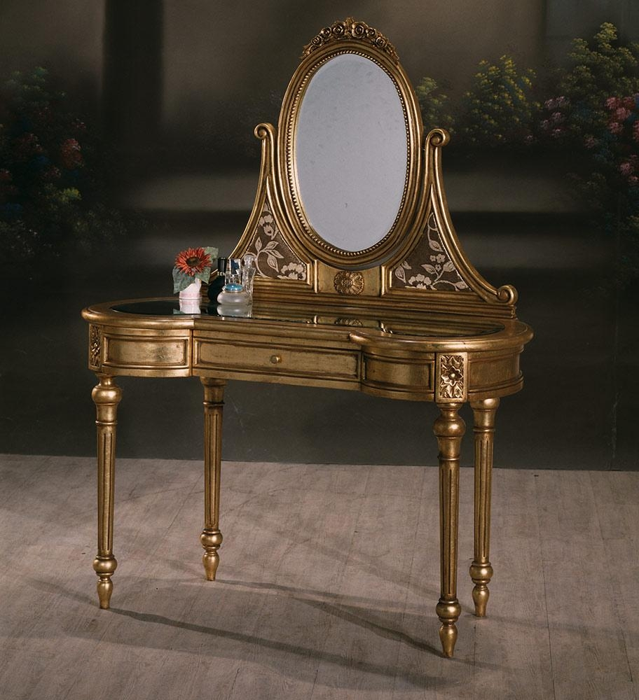 Rose Dressing Table Gold Leaf | Indonesia Furniture | Bedroom Inside Gold Dressing Table Mirror (Image 16 of 20)