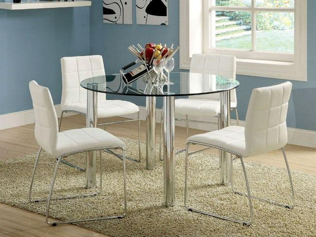 Round Dining Table Glass Top In Cappuccino Coaster (View 6 of 20)