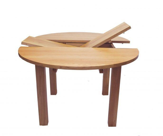 Round Expandable Dining Table Shown With All Leaves In Place And Within Extending Round Dining Tables (Image 14 of 20)
