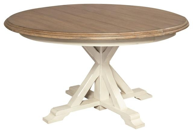 "Round Expandable Dining Table, White Oak, 54"" – Beach Style Throughout White Square Extending Dining Tables (Image 16 of 20)"