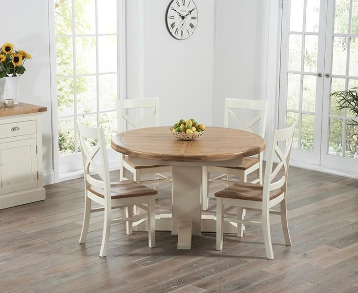 Round Extending Dining Table Sets Throughout Cream And Wood Dining Tables (View 7 of 20)