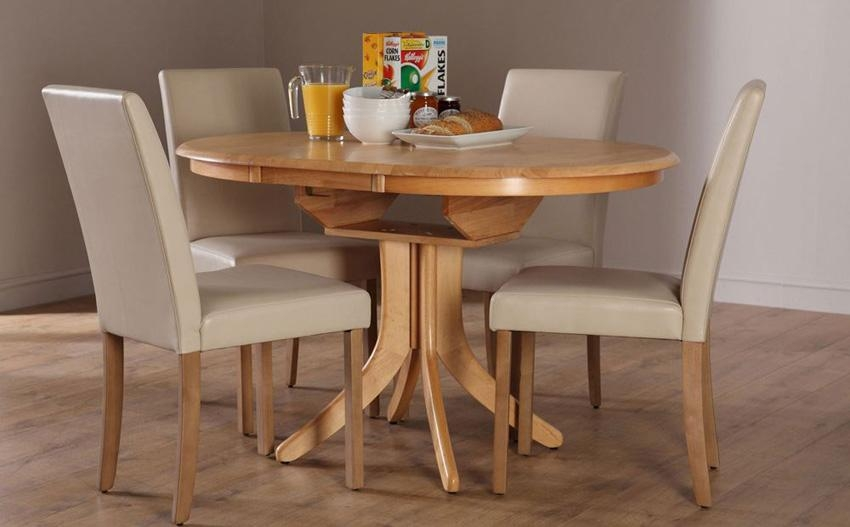 Round Extending Kitchen Table In Extendable Dining Table And 4 Chairs (Image 16 of 20)