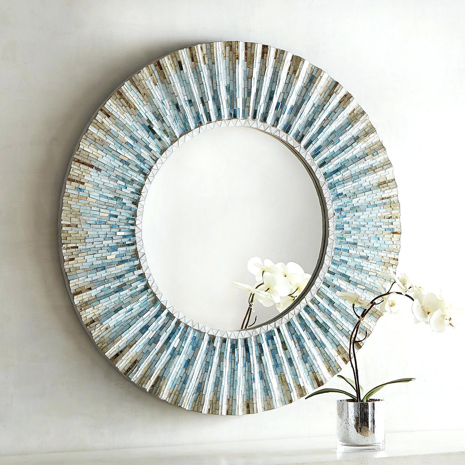 Round Flower Motif Glass Mosaic Tile Wall Mirrorround Mirrors For Regarding Round Mirror For Sale (View 17 of 20)