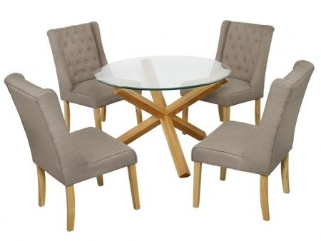 Round Glass And Oak Dining Table Set Round Oak Dining Table For 6 Within Round Glass Dining Tables With Oak Legs (Image 15 of 20)