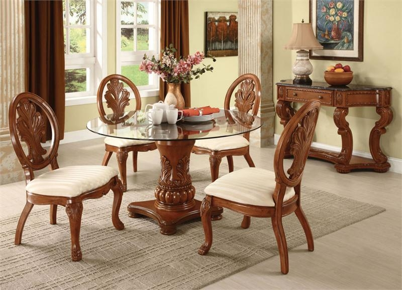 Round Glass Dining Table And Chair Set – Starrkingschool In Dining Table Chair Sets (View 5 of 20)