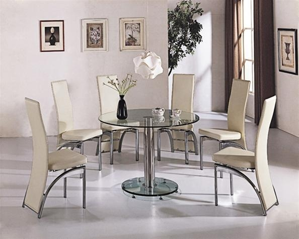 Round Glass Dining Table And Chairs | Iron Wood Within Glass Dining Tables And Chairs (View 12 of 20)