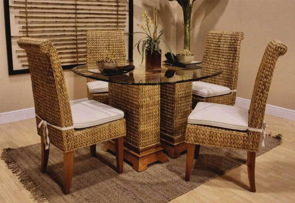 Round Glass Dining Table And Wicker Chairs | Ideasidea Inside Wicker And Glass Dining Tables (Image 18 of 20)