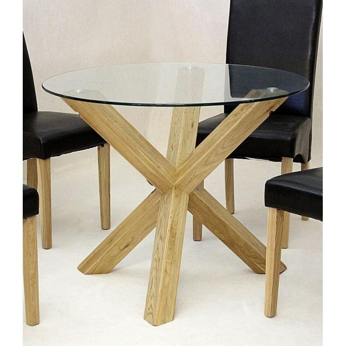 Round Glass Dining Table | Leather Chairs | Contemporary | Kitchen Pertaining To Glass Dining Tables With Oak Legs (Image 15 of 20)