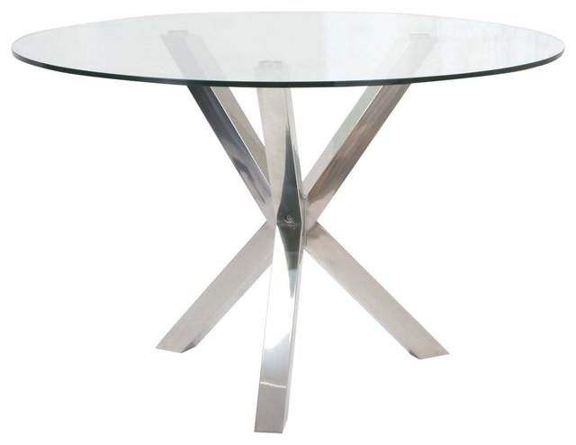 Round Glass Dining Table, Stainless Steel Base Modern Dining With Regard To Glass And Stainless Steel Dining Tables (Image 16 of 20)