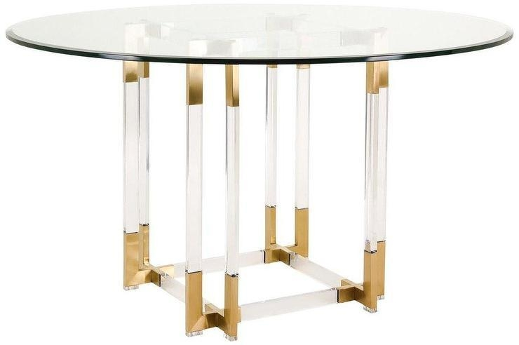 Round Glass Gold Acrylic Dining Table Intended For Acrylic Round Dining Tables (Image 16 of 20)